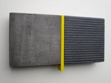 O-68 nr. 9 Tineke Porck untitled divided yellow 2018 oil mixed media hout en mdf