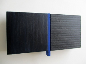 O-68 nr. 28 Tineke Porck , untitled dialogue divided blue 2017 oil on wood and mdf, 11,3 x 20,5 cm(foto Henk Porck)